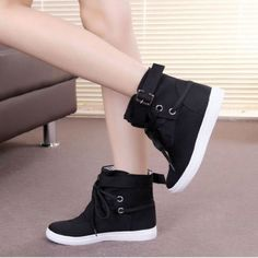 Canvas Lace Up Ankle Boots For Women