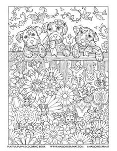 Adult Coloring Pages Puppies Awesome Backyard Fence Playful Puppies Coloring Book by Marjorie Dog Coloring Page, Doodle Coloring, Animal Coloring Pages, Coloring Pages To Print, Coloring Book Pages, Printable Coloring Pages, Coloring Pages For Kids, Coloring Sheets, Mandala Coloring