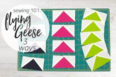 Flying geese are an essential quilting block you'll want in your sewing repertoire. In this sewing 101 video you'll learn 3 easy methods for creating flying geese blocks!