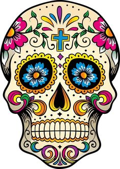 Self Adhesive Exterior Grade Vinyl. Colour Lock Print using 9600 x 2400 DPI technology. All our handmade stickers are printed onto exterior grade, waterproof vinyl using Geljet technology for UV resistant prints. Mexican Skull Art, Mexican Skull Tattoos, Sugar Skull Tattoos, Mexican Artwork, Sugar Skull Artwork, Sugar Skull Painting, Sugar Skull Drawings, Day Of The Dead Artwork, Day Of The Dead Skull
