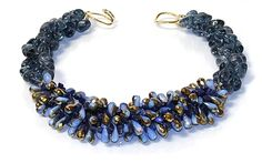 Helga Wagner Tourmaline nuggets with faceted two-tone Blue  Gold Quartz and tiffany clasp.  N503-42