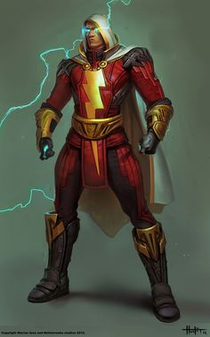 Concept art of Shazam from Injustice: Gods Among Us by Hunter Schulz