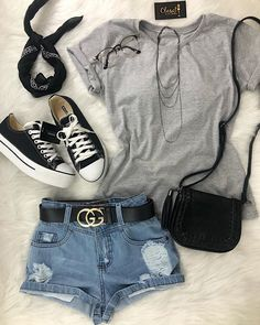Shorts (Newlook), Grey T-Shirt (Have), Black Trainers (Have) Cute Summer Outfits, Cute Casual Outfits, Pretty Outfits, Stylish Outfits, Teen Fashion Outfits, Cute Fashion, Outfits For Teens, Girl Outfits, Tumblr Outfits
