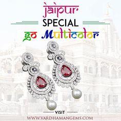 Earrings: Ruby the King of Gemstones with Dazzling Diamonds  wear vardhaman gems. www.vardhamangems.com