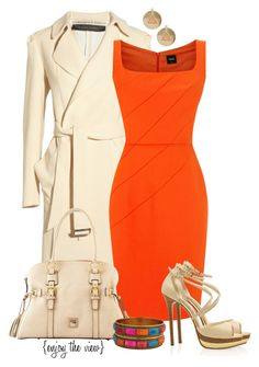 """""""Brightly Bold contest entry #1"""" by enjoytheview ❤ liked on Polyvore featuring Roland Mouret, Oasis, Dooney & Bourke, Forever 21, Elie Saab, outfit, orange, dress, coat and bold"""
