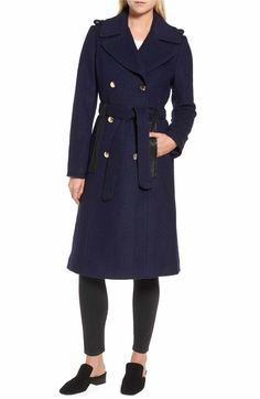 Main Image - GUESS Boiled Wool Trench Coat