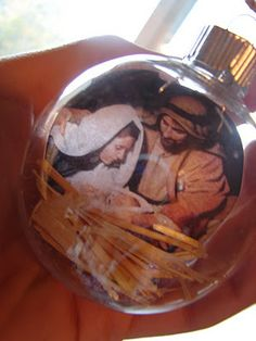 I did this and I love them.  I found lots of different pictures of the Savior.  I shrunk them down and printed them on transparency paper. I did not put the extra frills in it. They are beautiful and you can see them on both sides.  The lights from the Christmas tree make them glow.  They are some of my favorite ornaments.