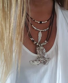 multistrand cowgirl leather necklace, cowboy boots, boots pendant, Bohemian, hippie, feather, cowrie necklace by myDemimore on Etsy