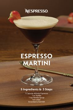 Become your own favorite bartender and make an Espresso Martini at home using your Nespresso machine. | INGREDIENTS: 1 capsule Altissio Espresso, 1 oz vodka, 1 TSP vanilla syrup, ice cubes, strawberry (optional). | MATERIALS: Martini glass, shaker. | HOW TO: In a cup, brew Altissio over one ice cube and let it cool. Then pour vodka, vanilla syrup, and the cooled espresso into your shaker. Add ice and shake for 10 seconds. Strain into your martini glass. Cheers! Nespresso Recipes, Nespresso Usa, Espresso Martini, Espresso Coffee, Coffee Is Life, Coffee Shop, Cocktail Recipes, Cocktails, Coffee Origin
