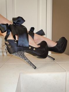 High Heel Platform Spiked Women Shoes Black size 8A by Spikesbyg, $93.00