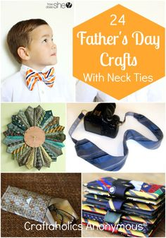 Loads of craft ideas for neck ties. Perfect for Father's Day! #fathers_day #crafts #tie