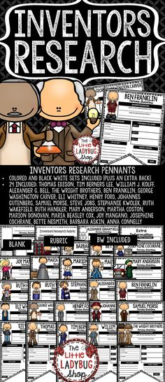 You will love using these Inventors & Scientist Research Pennants. They are perfect for you to  Print & Go with these Research Pennants for 24 Famous Inventors! Your students will love having these displayed after their research!