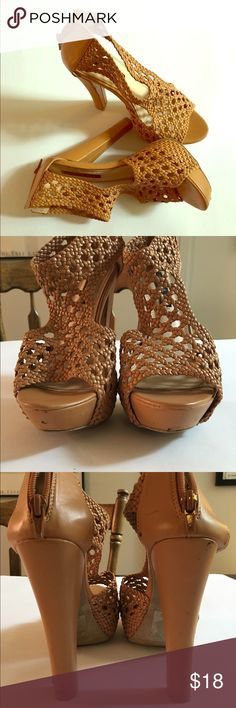 VEGAN LEATHER CROCHET TAN SANDALS Izabella Rue vegan leather crochet sandals. T strap front. Back zipper. Worn a few times. See pictures for dings on the heels and front. 1.5 inch rise in front. 5.5 inch heels. Izabella Rue Shoes Sandals