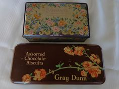 ANTIQUE VTG TIN METAL GRAY DUNN BISCUIT SCHRAFFT'S CHOCOLATE CANDY BOX