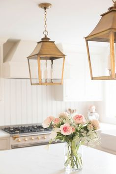 All the details about our lantern lighting and how to select island lights. Lantern Pendant Lighting, Island Pendant Lights, Brass Lantern, Brass Pendant Light, Kitchen Pendant Lighting, Lights Over Island, Kitchen Island Lighting, Lanterns Decor, Kitchen Upgrades