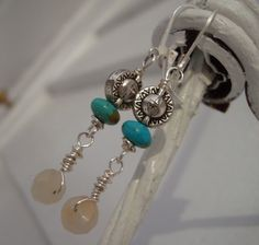 winter sun earrings beautiful blue green natural by otherDays, $24.00