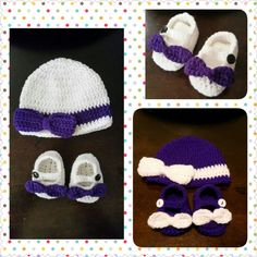 Baby girl bow hat and booties set!