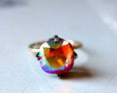Handmade Sunrise Swarovski Ring in Sterling Silver and 14k Gold Fill