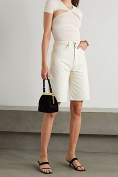 Ivory Vita cutout stretch-knit bodysuit | Khaite | NET-A-PORTER Whats New, Clothing Items, Stretches, Short Dresses, White Dress, Bodysuit, Menswear, Ivory, Silhouette