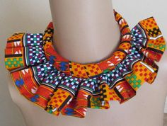 Egyptian Queen Nefetiti style African Kente PRINT by ChicAfrica African Accessories, Neck Accessories, African Jewelry, African Attire, African Wear, African Dress, Rope Jewelry, Fabric Jewelry, Jewellery