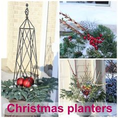 Christmas planters & window boxes. Real outdoor Christmas decorations by my friends and neighbors! - Momcrieff