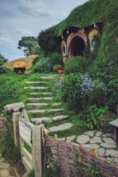 No admittance except on party business. Bilbo's home at the Hobbiton film set, New Zealand.