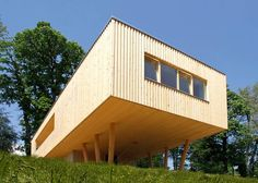 """A Passive House is built on stilts : 1000 sf - rectangular plan to minimize """"thermal complications"""""""