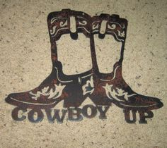Cowboy Up-Metal ARt-Cowboy art-Western art-Country-Home Decor-Metal Wall ARt from frolicnfriends on Etsy