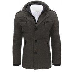 Moderní pánský kabát - šedý