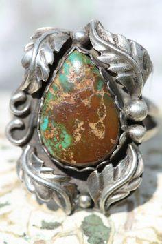 Vintage Signed Navajo 925 Sterling Silver & Fine King's Manassa Turquoise Ring
