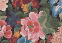 """Table Runner Floral Chintz-Pink, Blue, Teal, Peach & Apricot colored bright flowers on an ebony background-14"""" x 45""""-Pillows also available"""