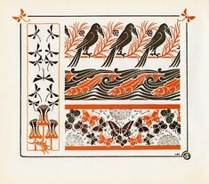 crows, fish, butterfly, Combinaisons Ornementales