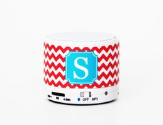 Fire Red Chevron Custom Monogram Wireless Bluetooth Mini Speaker