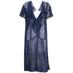 1920's Navy Eyelet Dress ❤ liked on Polyvore featuring dresses, cotton shift dress, 1920s flapper dress, blue flapper dress, cotton dress and blue dress