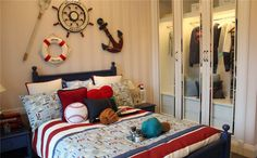 I like the mixing of baseball with nautical. Gives me ideas for Conner's room.