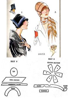 More 1927 McCall hats http://realhistoricalpatterns.tumblr.com/post/51008976043/more-1927-mccall-hats