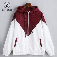 1a1d424325258 STYLE Spring Autumn Fashion Hooded Two Tone Windbreaker Jacket Zipper  Pockets Casual Long Sleeves Feminino Coats Outwear