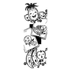 IVAB7102 Happy Singing Fruit for Tea Towels Vintage Embroidery