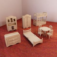 Dolls furniture pack vector models for cnc router and laser cutting 1 6 scale doll house kit plywood toy toys for girls dxf cdr free diy furniture plans to build an mid century modern credenza