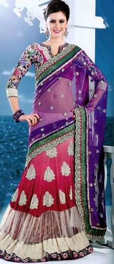 Violet and Shaded #Pink Net Lehenga Style #SareewithBlouse @ $173.38