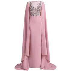 Georges Hobeika Embroidered Cape Dress ($4,521) ❤ liked on Polyvore featuring dresses, gowns, embellished evening dress, pink evening gowns, embroidered evening dress, pink dress and embellished gown