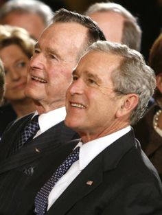 George H and George W Bush, father and son, both former presidents