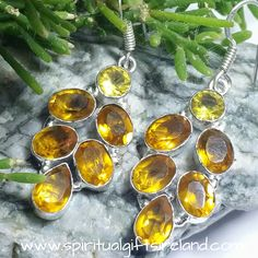 Private: Citrine and Yellow Tourmaline Gemstone Sterling Silver Earrings