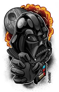 This is an print of one of the one and only lord of the other side of the force. These prints set the benchmark of high quality. Star Wars Cartoon, Star Wars Jokes, Star Wars Facts, Star Wars Drawings, Darth Vader, Cartoon Tattoos, Star Wars Wallpaper, Neo Traditional Tattoo, Caricatures