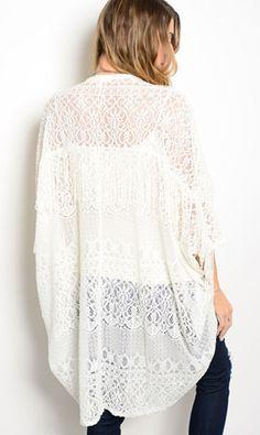 Cowgirl Kimono Cardigan Coverup WHITE CROCHET FRINGE NWT Western BOHO Gypsy M #HONEYPUNCH #cardigantopper