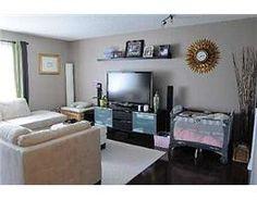 Living room colour, and shelf over TV
