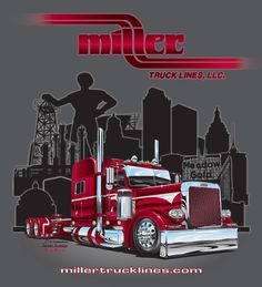 Miller Truck Lines Custom Big Rigs, Custom Trucks, Custom Cars, Big Rig Trucks, Cool Trucks, Semi Trucks, Truck Store, Michael Jordan Pictures, Truck Tattoo