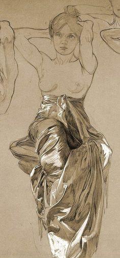 Art Nouveau Mucha, Alphonse Mucha Art, Human Figure Drawing, Life Drawing, Artist Life, Artist Art, Artist Sketchbook, Anatomy Art, Art For Art Sake