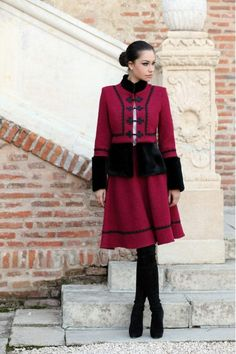 Sacou Stofa Dama Romanesc  din lana - Eleganta Folk Costume, Costumes, Romanian People, Boho Gypsy, Jacket Style, Traditional Outfits, Lana, Going Out, Dress Up