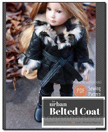Belted Coat Sewing Patternfor Kidz n Cats 18 inch Slim Dolls